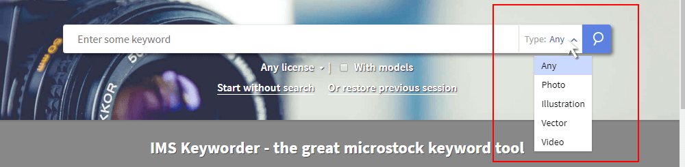 Imstocker advanced search: work type
