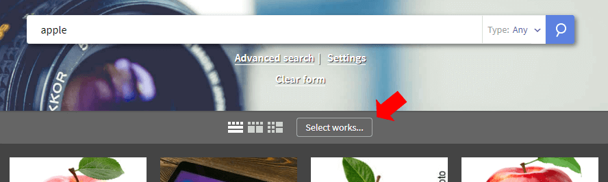 Select works button